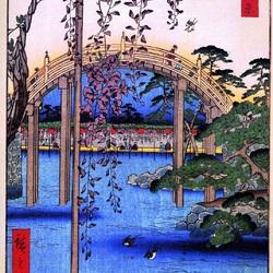 Пазл онлайн: 100 известных видов Эдо. Лист №57. Окрестности храма Тенджин в Камейдо