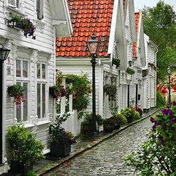 Пазл онлайн: Очаровательная улочка в Ставангере