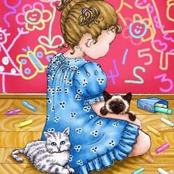 Пазл онлайн: Девочка и кошки