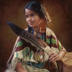 Пазл онлайн: Девочка с перьями