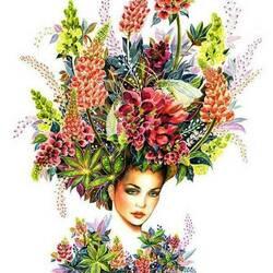 Пазл онлайн: Цветочный портрет