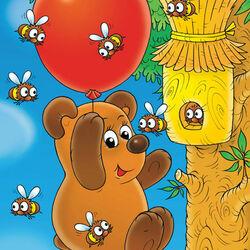 Пазл онлайн: Винни-Пух  в полете за медом