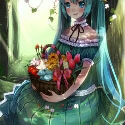 Пазл онлайн: Девочка с корзиной цветов