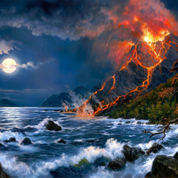 Пазл онлайн: Вулкан проснулся