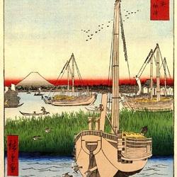 Пазл онлайн: 36 видов Фудзи. Вид с острова Цукуда