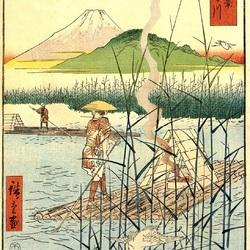 Пазл онлайн: 36 видов Фудзи. Река Сагами
