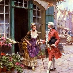 Пазл онлайн: Джентльмен и цветочница