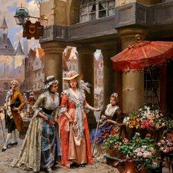 Пазл онлайн: Дамы и цветочница