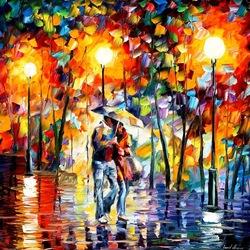 Пазл онлайн: Двое под дождём