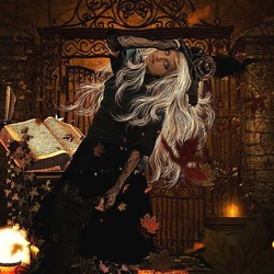 Пазл онлайн: Милая цветущая ведьма
