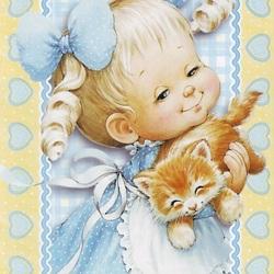 Пазл онлайн: Девочка с котёнком