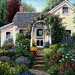 Пазл онлайн: Домик в саду