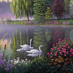 Пазл онлайн: Лебединое озеро