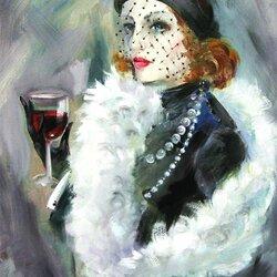 Пазл онлайн: Дама с бокалом красного вина