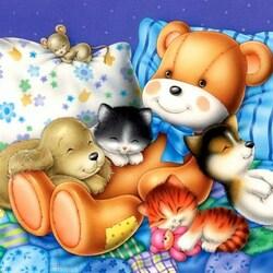 Пазл онлайн: Спят усталые игрушки