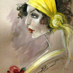 Пазл онлайн: Дама в желтом