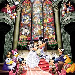 Пазл онлайн: Свадьба Микки