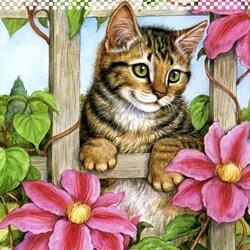 Пазл онлайн: Котенок и клематисы