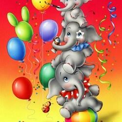 Пазл онлайн: Веселые слоники