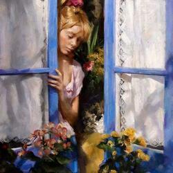 Пазл онлайн: Женщина у окна