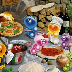Пазл онлайн: Готовим пиццу