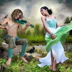 Пазл онлайн: Зеленая скрипка