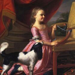 Пазл онлайн: Девочка с птицей и собакой (портрет Мэри Уорнер)
