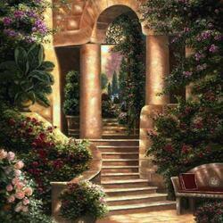 Пазл онлайн: Розы в саду
