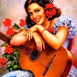 Пазл онлайн: Девушка с гитарой