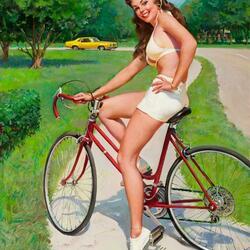 Пазл онлайн: Велосипедистка
