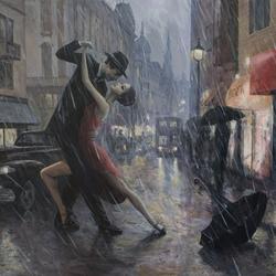 Пазл онлайн: Танго под дождем