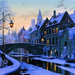 Пазл онлайн: Зимний вечер в Брюгге