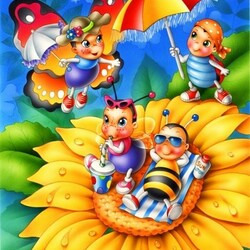 Пазл онлайн: Пчелки на отдыхе