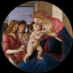 Пазл онлайн: Мадонна с Младенцем и двумя ангелами