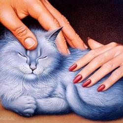 Пазл онлайн: Он, она и кошка
