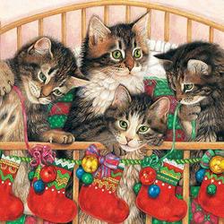 Пазл онлайн: Рождественские носочки для котят