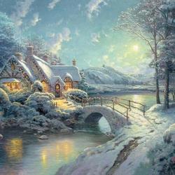 Пазл онлайн: Зимний мост