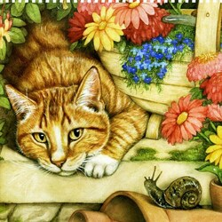 Пазл онлайн: Затаившийся кот