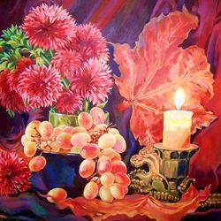 Пазл онлайн: Натюрморт со свечой, виноградом и осенними листьями
