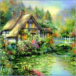Пазл онлайн: Дом у водоема с лилиями