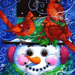 Пазл онлайн: Снеговик и кардиналы
