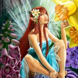 Пазл онлайн: Цветы и фея