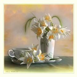 Пазл онлайн: С белыми лилиями