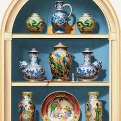 Пазл онлайн: Китайские вазы в нише