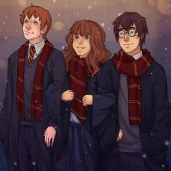 Пазл онлайн: Гарри, Рон и Гермиона