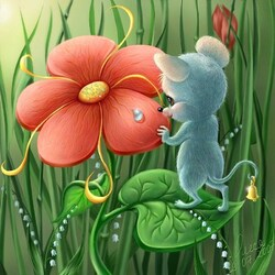Пазл онлайн:  Маленький мышонок