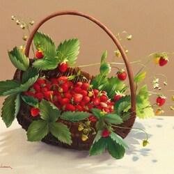 Пазл онлайн: Корзина с ягодами