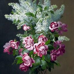 Пазл онлайн: Розы и сирень