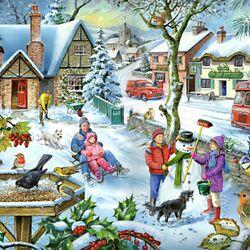 Пазл онлайн: Зима в небольшом городке