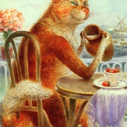 Пазл онлайн: Завтрак настоящих котов